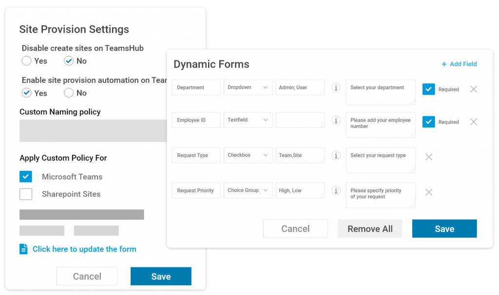 Dynamic forms for site provisioning