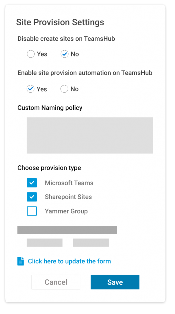 Microsoft Teams - Automated Site Provisioning Settings by TeamsHub by Cyclotron