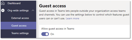 Screenshot of Teams guest access toggle