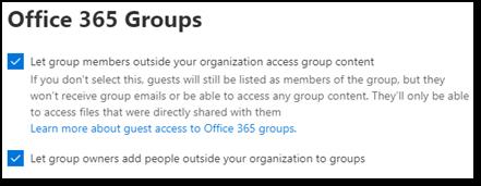 Screenshot of Microsoft 365 Groups guest settings in  Microsoft 365 admin center